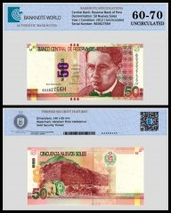 Peru 50 Nuevos Soles Banknote, 2012, P-189a, UNC, TAP 60 - 70 Authenticated