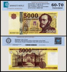 Hungary 5,000 Forint Banknote, 2016, P-NEW, UNC, TAP 60 - 70 Authenticated