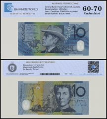 Australia 10 Dollars Banknote, 1986, P-58f, UNC, TAP 60 - 70 Authenticated