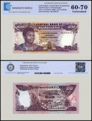 Swaziland 20 Emalangeni Banknote, 2006, P-30c, UNC, TAP Authenticated