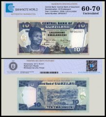 Swaziland 10 Emalangeni Banknote, 2006, P-29c, UNC, TAP Authenticated