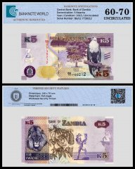 Zambia 5 Kwacha Banknote, 2015, P-57a, UNC, TAP 60 - 70 Authenticated