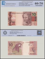 Brazil 10 Reais Banknote, 2012, P-254a, UNC, TAP 60 - 70 Authenticated
