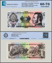 Honduras 5 Lempiras Banknote, 2012, P-98, UNC, TAP 60 - 70 Authenticated