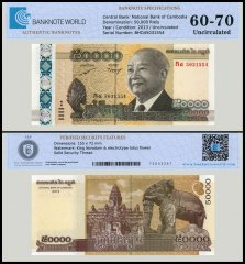 Cambodia 50,000 Riels Banknote, 2013, P-61, UNC, TAP 60-70 Authenticated