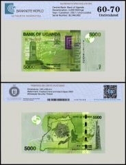 Uganda 5,000 Shillings Banknote, 2017, P-51, UNC, TAP 60 - 70 Authenticated