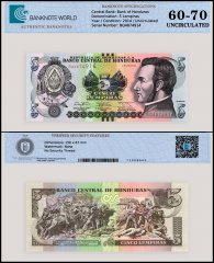 Honduras 5 Lempiras Banknote, 2014, P-98b, UNC, TAP 60-70 Authenticated
