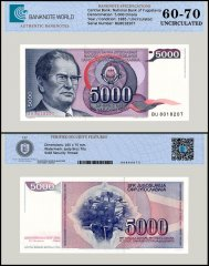 Yugoslavia 5,000 Dinara Banknote, 1985, P-93a, UNC, TAP 60 - 70 Authenticated