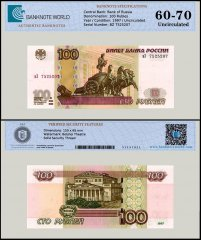Russia 100 Rubles Banknote, 1997 P-270a, UNC, TAP 60-70 Authenticated