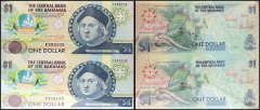 Bahamas 1 Dollar, 1992, P-50, UNC, 2 Piece Uncut Sheet