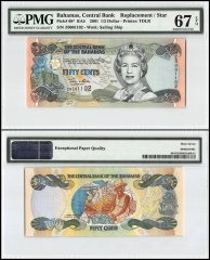 Bahamas 1/2 Dollar, 2001, P-68, Replacement/Star, Queen Elizabeth ll, PMG 67