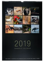 Banknote Calendar 12 Banknotes from Mixed Countries, 2019, UNC, Animals