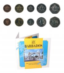 Barbados 1 Cent - 1 Dollar, 5 Piece Coin Set, 1998, KM # 10a-14.2, Mint