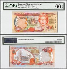 Bermuda 100 Dollars, 2000, P-55a, Queen Elizabeth II, Low Serial #, PMG 66