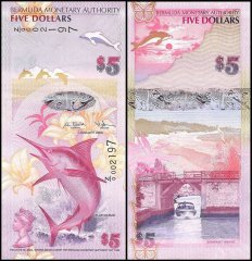Bermuda 5 Dollars Banknote, 2009, P-58, UNC, Replacement