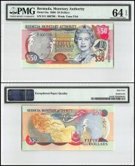 Bermuda 50 Dollars, 2000, P-54a, Queen Elizabeth II, Low Serial #, PMG 64