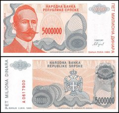 Bosnia & Herzegovina 5 Million Dinara Banknote, 1993, P-156, UNC