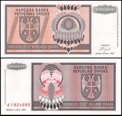 Bosnia Herzegovina 10 Billion Dinara Banknote, 1993, P-148a, UNC