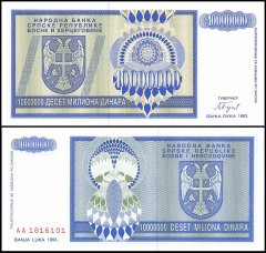 Bosnia Herzegovina 10 Million Dinars Banknote, 1993, P-144, UNC