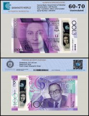 Gibraltar 100 Pounds Banknote, 2015, P-40, UNC, Commemorative, TAP 60-70 Authenticated