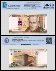 Peru 20 Soles Banknote, 2016, P-193a, UNC, TAP 60 - 70 Authenticated