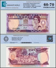 Fiji 10 Dollars Banknote, 1989, P-92a, UNC, TAP 60-70 Authenticated