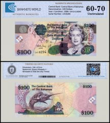Bahamas 100 Dollars Banknotes, 2009, P-76, UNC, TAP Authenticated