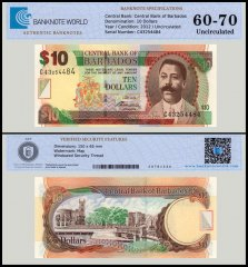 Barbados 10 Dollars Banknote, 2012, P-68c, UNC, TAP 60 - 70 Authenticated