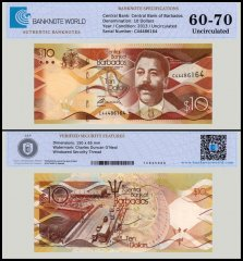 Barbados 10 Dollars Banknote, 2013, P-75, UNC, TAP 60 - 70 Authenticated