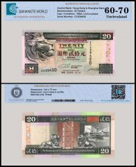 Hong Kong 20 Dollars Banknote, 1994, P-201a, UNC, TAP 60-70 Authenticated