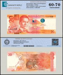 Philippines 20 Peso Banknote, 2014, P-206, UNC, TAP 60 - 70 Authenticated