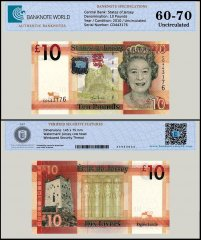 Jersey 10 Pounds Banknote, 2010, P-34, UNC, TAP 60-70 Authenticated