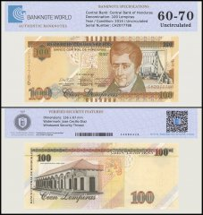 Honduras 100 Lempiras Banknote, 2014, P-102, UNC, TAP 60 - 70 Authenticated