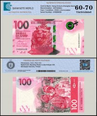 Hong Kong 100 Dollars Banknote, 2018, P-NEW, UNC, TAP Authenticated