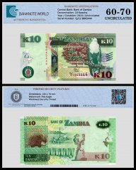 Zambia 10 Kwacha Banknote, 2015, P-58a, UNC, TAP 60 - 70 Authenticated