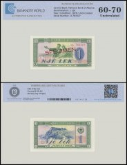 Albania 1 Leke Banknote, 1976, P-40s2, SPECIMEN, UNC, TAP Authenticated