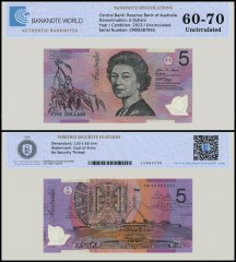Australia 5 Dollars Banknote, 2013, P-57d, UNC, TAP Authenticated