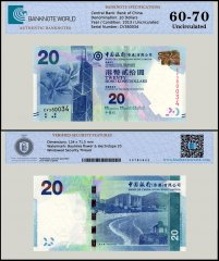 Hong Kong 20 Dollars Banknote, 2013, P-341c, UNC, TAP 60-70 Authenticated