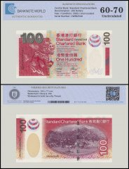 Hong Kong 100 Dollars Banknote, 2003, P-293, UNC, TAP 60-70 Authenticated