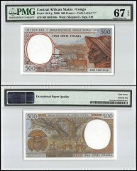 Central African States - Congo 500 Francs, 2000, P-101Cg, PMG 67