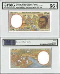Central African States - Congo, 1,000 Francs, 2000, P-102Cg, PMG 66