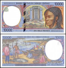 Central African States - E. Guinea 10,000 Francs Banknote, 2000, P-505Nf, UNC