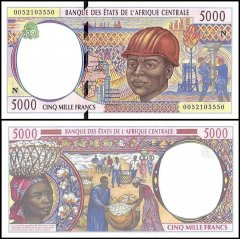Central African States - E. Guinea 5,000 Francs Banknote, 2000, P-504Nf, UNC
