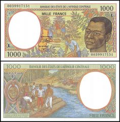 Central African States -Gabon 1,000 Francs Banknote, 2000, P-402Lg, UNC