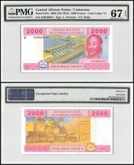 Central African States 2,000 Francs, 2002 ND2015, P-613U, PMG 67