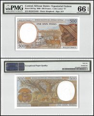 Central African States 500 Francs, 2000, P-501Ng, PMG 66