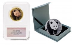 China Denver ANA Panda Tri-Metal & 30g Silver, 2 Piece Coin Set, 2017, Mint