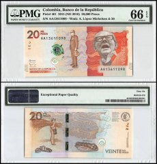 Colombia 20,000 Pesos, 2015 - ND 2016, P-461, PMG 66