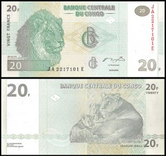 Congo Democratic Republic 20 Francs Banknote, 2003, P-94, UNC