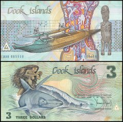 Cook Islands 3 Dollars Banknote, 1987, P-3a, UNC, STAINED, Shark, Fishing Canoe, God of Te-Rongo Statue